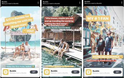 """Bumble Story-Based Ad on Snapchat Discover"""" width=""""477"""" style=""""width: 477px; margin: 0px auto; display: block;"""" srcset=""""https://blog.hubspot.com/hs-fs/hubfs/How%2013%20Brands%20Are%20Leveraging%20Snapchat%20Discover-10.png?width=239&name=How%2013%20Brands%20Are%20Leveraging%20Snapchat%20Discover-10.png 239w, https://blog.hubspot.com/hs-fs/hubfs/How%2013%20Brands%20Are%20Leveraging%20Snapchat%20Discover-10.png?width=477&name=How%2013%20Brands%20Are%20Leveraging%20Snapchat%20Discover-10.png 477w, https://blog.hubspot.com/hs-fs/hubfs/How%2013%20Brands%20Are%20Leveraging%20Snapchat%20Discover-10.png?width=716&name=How%2013%20Brands%20Are%20Leveraging%20Snapchat%20Discover-10.png 716w, https://blog.hubspot.com/hs-fs/hubfs/How%2013%20Brands%20Are%20Leveraging%20Snapchat%20Discover-10.png?width=954&name=How%2013%20Brands%20Are%20Leveraging%20Snapchat%20Discover-10.png 954w, https://blog.hubspot.com/hs-fs/hubfs/How%2013%20Brands%20Are%20Leveraging%20Snapchat%20Discover-10.png?width=1193&name=How%2013%20Brands%20Are%20Leveraging%20Snapchat%20Discover-10.png 1193w, https://blog.hubspot.com/hs-fs/hubfs/How%2013%20Brands%20Are%20Leveraging%20Snapchat%20Discover-10.png?width=1431&name=How%2013%20Brands%20Are%20Leveraging%20Snapchat%20Discover-10.png 1431w"""" sizes=""""(max-width: 477px) 100vw, 477px"""