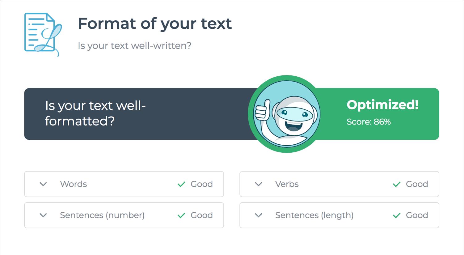 Leggibilità dell'ottimizzatore di testo