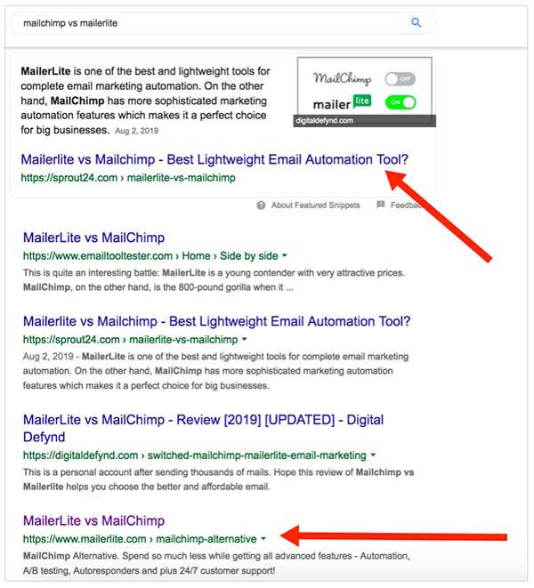 Risultati della ricerca MailerLite vs. Mailchimp