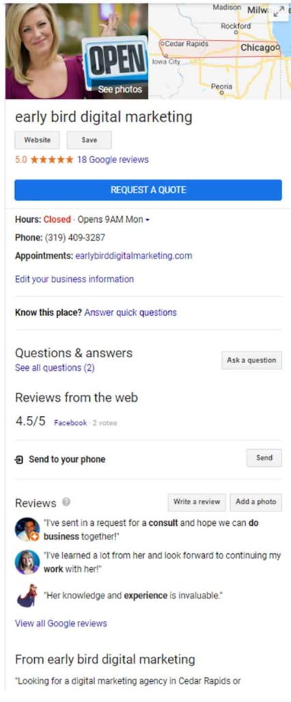 Google My Business profile example