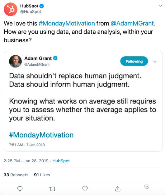 #MondayMotivation Esempio di hashtag di Twitter