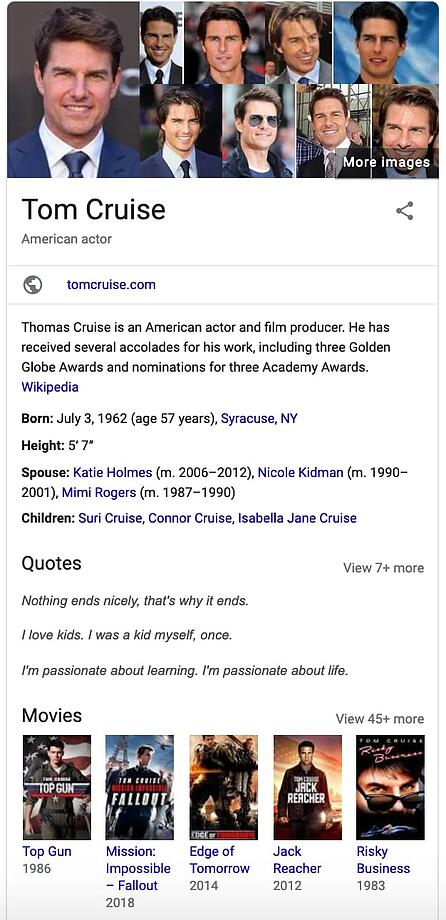 """Scheda grafica di Tom Cruise su Google. """"Width ="""" 446 """"style ="""" larghezza: 446px; blocco di visualizzazione; margine: 0px auto; """"srcset ="""" https://blog.hubspot.com/hs-fs/hubfs/tom-cruise-knowledge-graph-panel-example.jpg?width=223&name=tom-cruise-knowledge-graph -panel-example.jpg 223w, https://blog.hubspot.com/hs-fs/hubfs/tom-cruise-knowledge-graph-panel-example.jpg?width=446&name=tom-cruise-knowledge-graph- panel-example.jpg 446w, https://blog.hubspot.com/hs-fs/hubfs/tom-cruise-knowledge-graph-panel-example.jpg?width=669&name=tom-cruise-knowledge-graph-panel -example.jpg 669w, https://blog.hubspot.com/hs-fs/hubfs/tom-cruise-knowledge-graph-panel-example.jpg?width=892&name=tom-cruise-knowledge-graph-panel- esempio.jpg 892w, https://blog.hubspot.com/hs-fs/hubfs/tom-cruise-knowledge-graph-panel-example.jpg?width=1115&name=tom-cruise-knowledge-graph-panel-example .jpg 1115w, https://blog.hubspot.com/hs-fs/hubfs/tom-cruise-knowledge-graph-panel-example.jpg?width=1338&name=tom-cruise-knowledge-graph-panel-example. jpg 1338w """"size ="""" (larghezza massima: 446px) 100vw, 446px"""