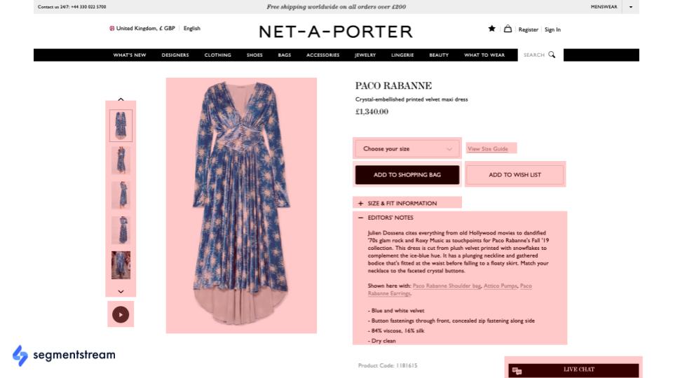 esempio di pagina del prodotto e-commerce di moda.