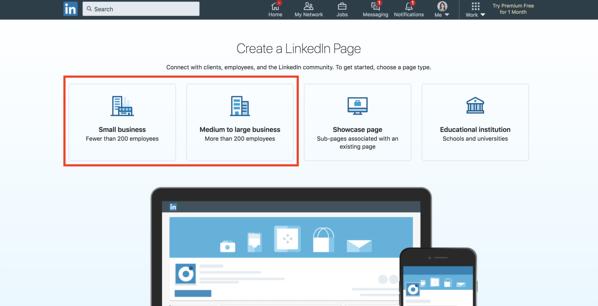creare una pagina aziendale di linkedin scegliere un tipo di pagina