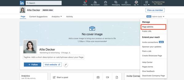 pagina aziendale di linkedin aggiungere nuovi amministratori di pagina
