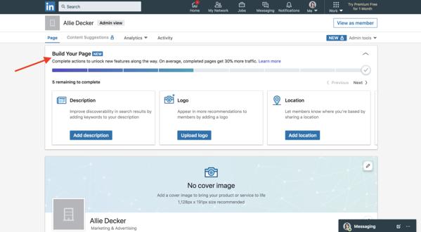 Le pagine aziendali di linkedin creano la tua lista di controllo