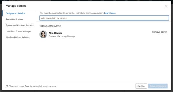 pagina aziendale di linkedin aggiungere il modulo di amministrazione designato