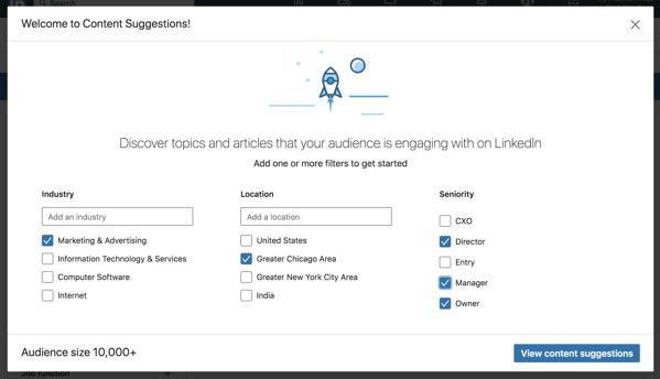 i suggerimenti sul contenuto della pagina aziendale di linkedin