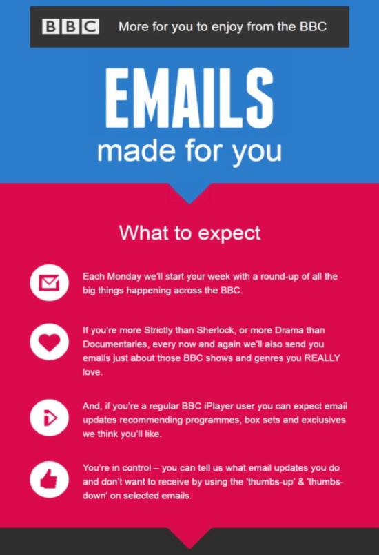 Email di benvenuto della BBC