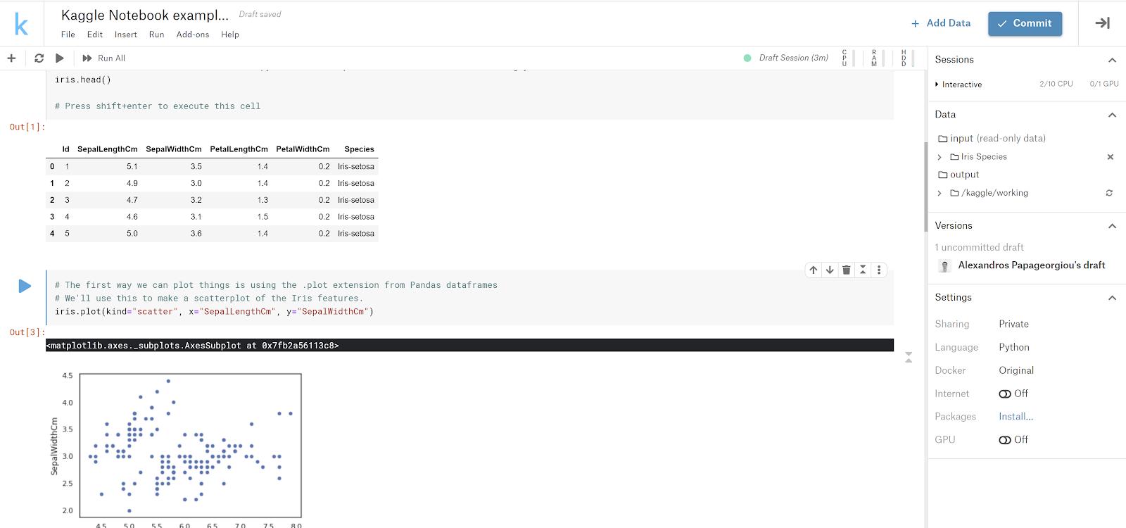 esempio di taccuino Kaggle.