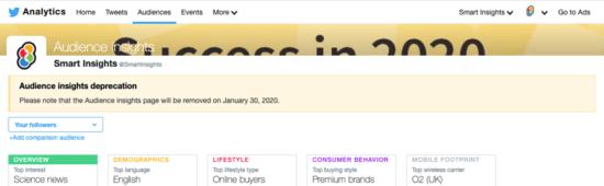 "Notifica di informazioni sul pubblico di Twitter ""width ="" 550 ""height ="" 170 ""srcset ="" https://megamarketing.it/wp-content/uploads/2020/01/1578671571_898_Notizie-Roundup-10-gennaio-2020.png 550w , https://www.smartinsights.com/wp-content/uploads/2020/01/Twitter-Audience-Insights-notification-700x217.png 700w, https://www.smartinsights.com/wp-content/uploads/ 2020/01 / Twitter-Audience-Insights-notification-150x46.png 150w, https://www.smartinsights.com/wp-content/uploads/2020/01/Twitter-Audience-Insights-notification-768x238.png 768w, https://www.smartinsights.com/wp-content/uploads/2020/01/Twitter-Audience-Insights-notification-250x77.png 250w, https://www.smartinsights.com/wp-content/uploads/2020 /01/Twitter-Audience-Insights-notification.png 939w ""dimensioni ="" (larghezza massima: 550px) 100vw, 550px"