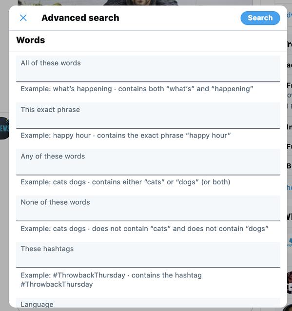 Menu di ricerca avanzata su Twitter