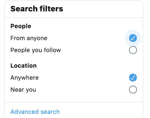 Filtri di ricerca avanzata di Twitter