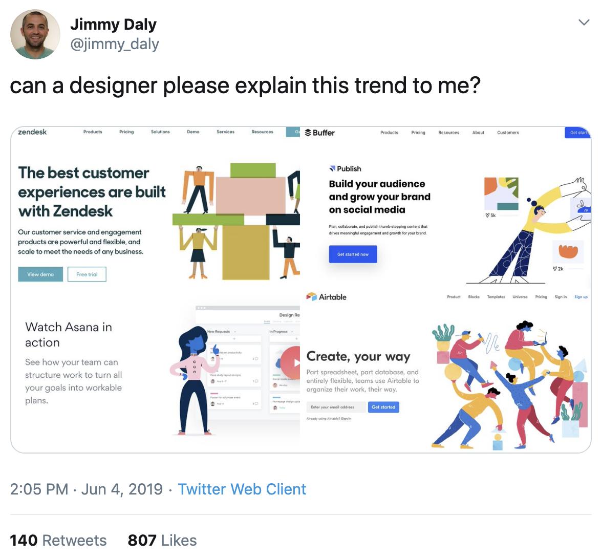 Dolce di Jimmy Daly con illustrazioni nel design SaaS.