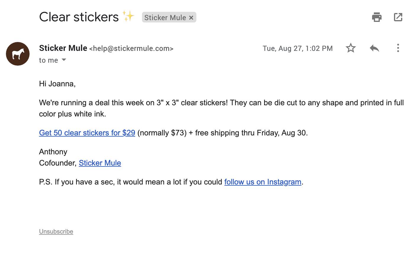 Adesivo Mule e-mail.