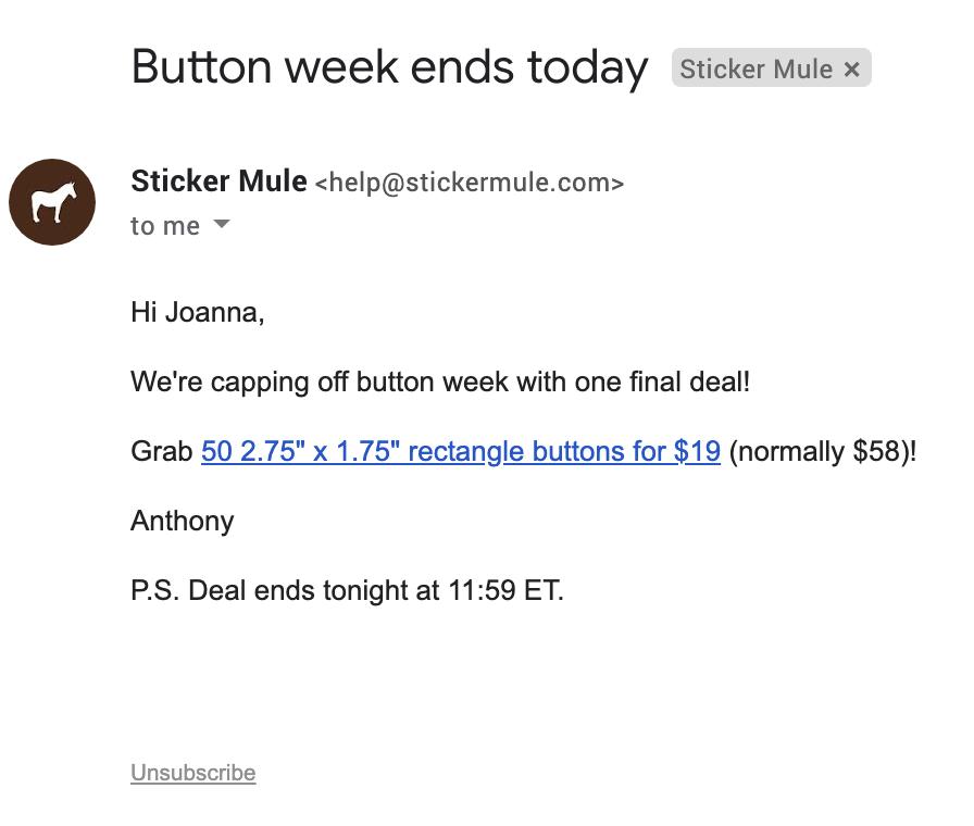 Un'altra email di Sticker Mule.