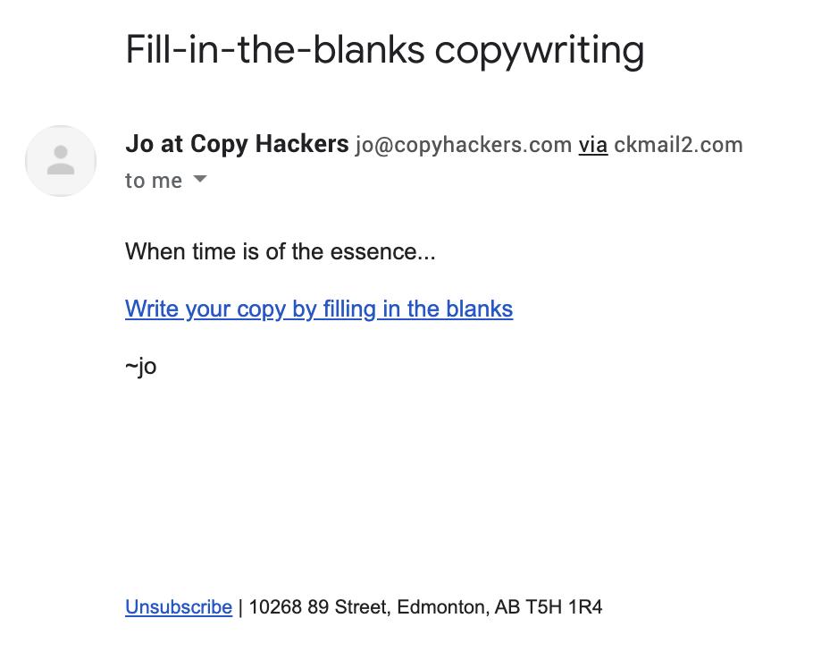 Un esempio di una breve email scritta da Jo.