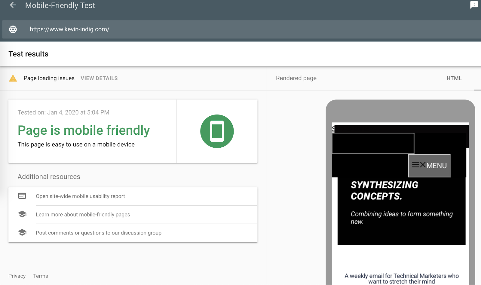 test ottimizzato per dispositivi mobili di google.
