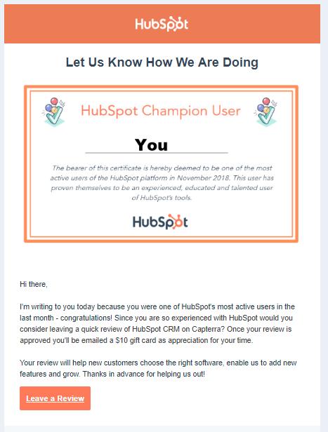 """L'email di HubSpot che richiede ai clienti di lasciare una recensione. """"Width ="""" 467 """"style ="""" width: 467px; blocco di visualizzazione; margine: 0px auto; """"srcset ="""" https://blog.hubspot.com/hs-fs/hubfs/email-2-100.png?width=234&name=email-2-100.png 234w, https: // blog.hubspot.com/hs-fs/hubfs/email-2-100.png?width=467&name=email-2-100.png 467w, https://blog.hubspot.com/hs-fs/hubfs/email -2-100.png? Larghezza = 701 e nome = email-2-100.png 701w, https://blog.hubspot.com/hs-fs/hubfs/email-2-100.png?width=934&name=email- 2-100.png 934w, https://blog.hubspot.com/hs-fs/hubfs/email-2-100.png?width=1168&name=email-2-100.png 1168w, https: // blog. hubspot.com/hs-fs/hubfs/email-2-100.png?width=1401&name=email-2-100.png 1401w """"dimensioni ="""" (larghezza massima: 467px) 100vw, 467px"""