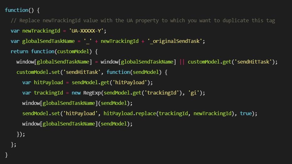 """codice per inviare hit da un codice UA a due proprietà in Google Analytics. """"width ="""" 750"""
