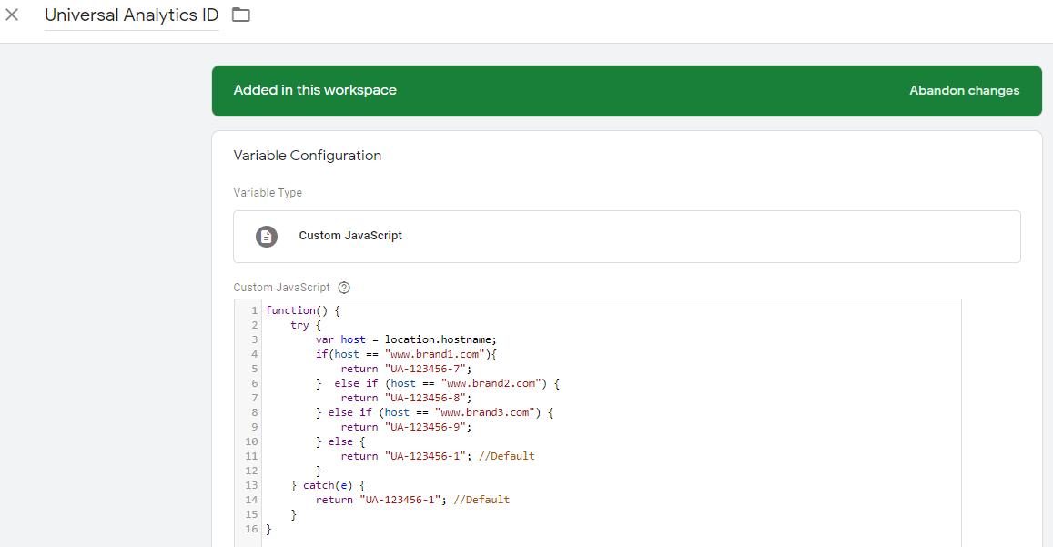 "impostazione di una variabile nome host in Google Tag Manager. ""width ="" 750"
