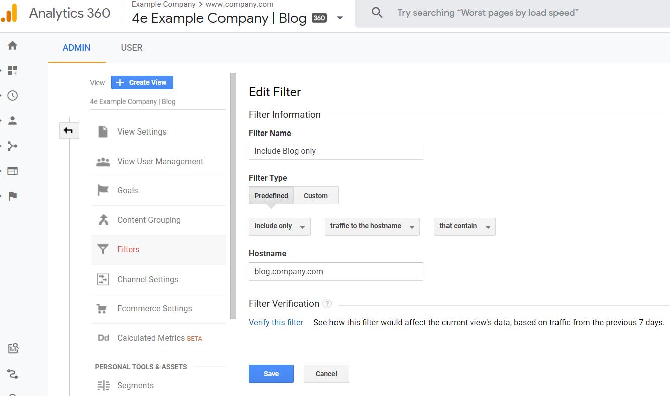 """impostazione di un filtro del nome host in Google Analytics. """"width ="""" 750"""