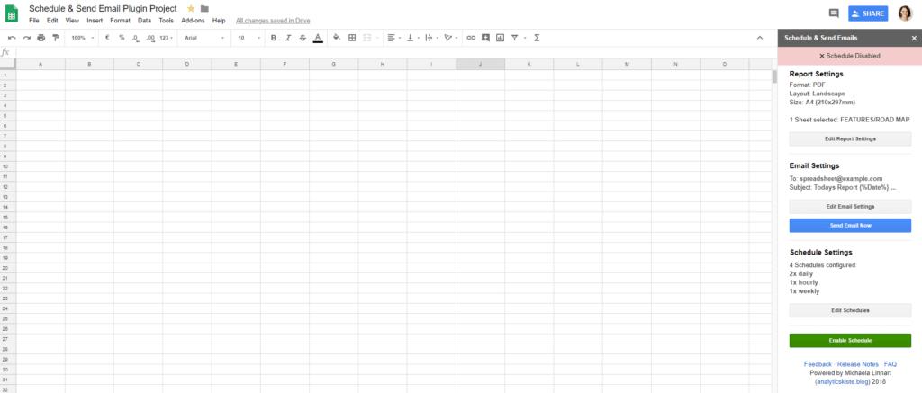 """componente aggiuntivo di fogli di Google per pianificare automaticamente i rapporti. """"width ="""" 750"""