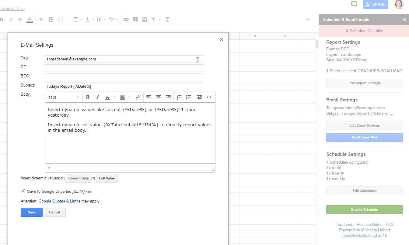 """impostazione di un messaggio di posta elettronica per un rapporto automatizzato. """"width ="""" 750"""