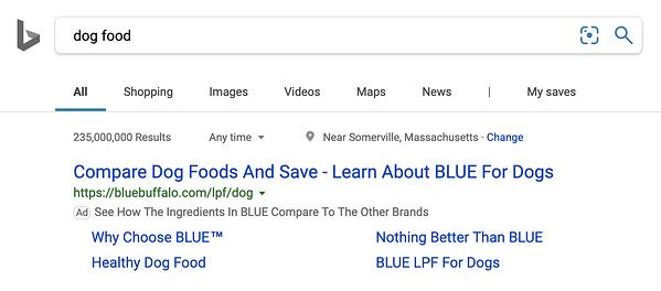"""Ricerca Bing con annunci per alimenti per cani corrispondenti alle parole chiave di ricerca """"width ="""" 600 """"style ="""" larghezza: 600px; blocco di visualizzazione; margine: 0px auto; """"srcset ="""" https://blog.hubspot.com/hs-fs/hubfs/5%20Alternatives%20to%20Facebook%2C%20Google%2C%20and%20Amazon%20Ads-3.png?width = 300 e nome = 5% 20Alternative% 20to% 20Facebook% 2C% 20Google% 2C% 20and% 20Amazon% 20Ads-3.png 300w, https://blog.hubspot.com/hs-fs/hubfs/5%20Alternatives%20to% 20Facebook% 2C% 20Google% 2C% 20and% 20Amazon% 20Ads-3.png? Larghezza = 600 & name = 5% 20Alternatives% 20to% 20Facebook% 2C% 20Google% 2C% 20and% 20Amazon% 20Ads-3.png 600w, https: / /blog.hubspot.com/hs-fs/hubfs/5%20Alternatives%20to%20Facebook%2C%20Google%2C%20and%20Amazon%20Ads-3.png?width=900&name=5%20Alternatives%20to%20Facebook%2C % 20Google% 2C% 20and% 20Amazon% 20Ads-3.png 900w, https://blog.hubspot.com/hs-fs/hubfs/5%20Alternatives%20to%20Facebook%2C%20Google%2C%20and%20Amazon% 20Ads-3.png? Width = 1200 & name = 5% 20Alternatives% 20to% 20Facebook% 2C% 20Google% 2C% 20and% 20Amazon% 20Ads-3.png 1200w, https://blog.hubspot.com/hs-fs/hubfs /5%20Alternatives%20to%20Facebook%2C%20Google%2C%20and%20Amazon%20Ads-3.png?width=1500&name=5%20Alterna tives% 20to% 20Facebook% 2C% 20Google% 2C% 20and% 20Amazon% 20Ads-3.png 1500w, https://blog.hubspot.com/hs-fs/hubfs/5%20Alternatives%20to%20Facebook%2C%20Google % 2C% 20and% 20Amazon% 20Ads-3.png? Larghezza = 1800 & name = 5% 20Alternatives% 20to% 20Facebook% 2C% 20Google% 2C% 20and% 20Amazon% 20Ads-3.png 1800w """"size ="""" (larghezza massima: 600px) 100vw, 600px"""