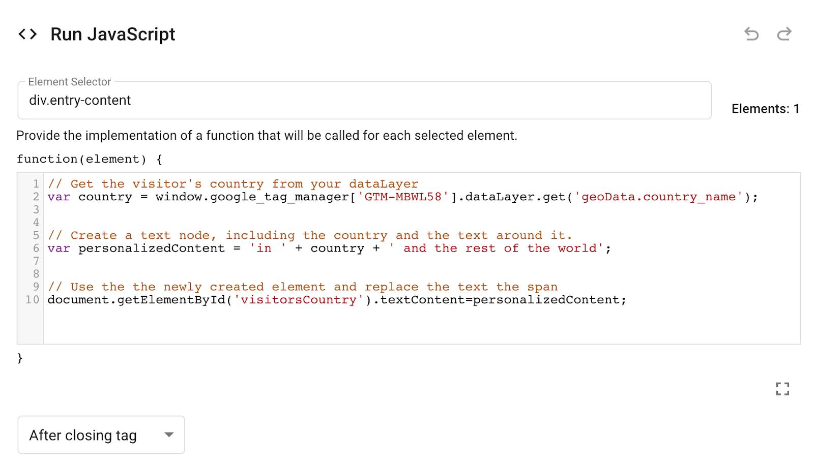 modifica di JavaScript in Google Optimize.