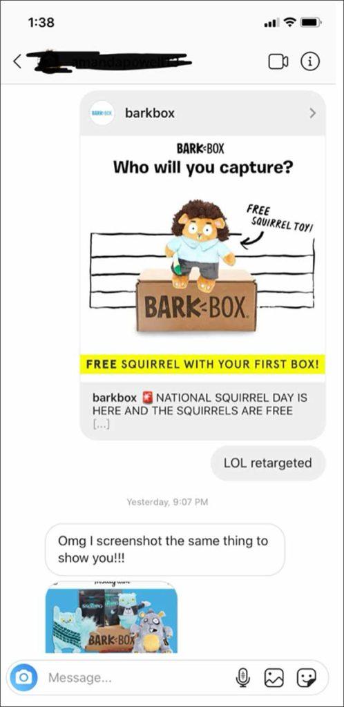 Un DM Instagram tra 2 membri del team DM con un annuncio BarkBox che dice