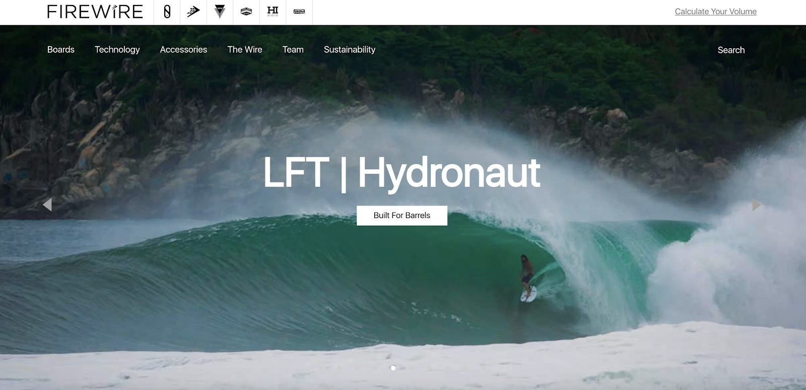 esempio di homepage di tavole da surf firewire