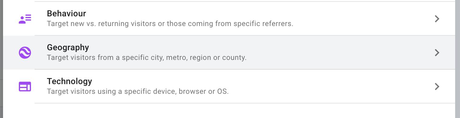tipi di targeting in Google Optimize.