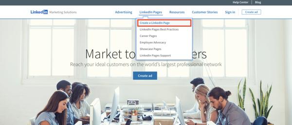 Le soluzioni di marketing di linkedin creano una nuova pagina di linkedin