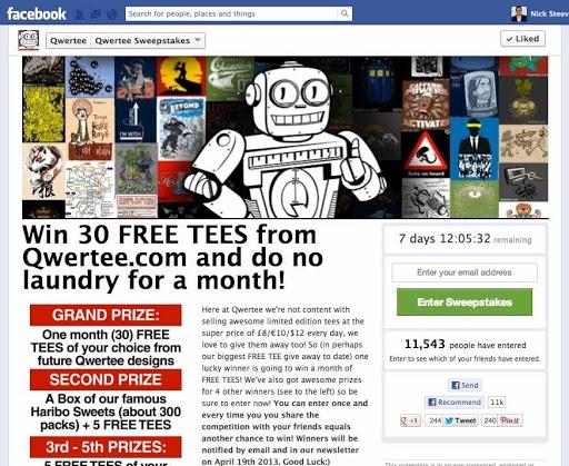 Esempio di concorso Facebook di Qwertee