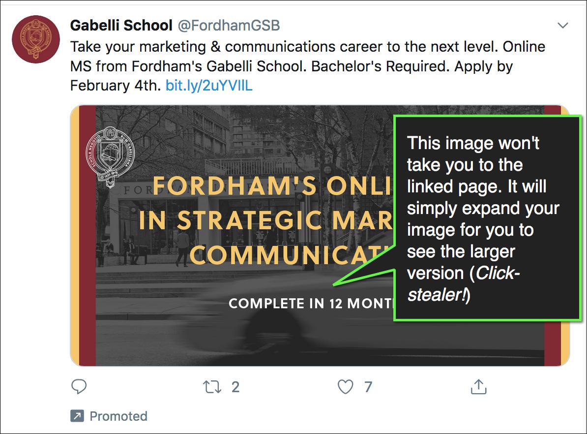 esempio di immagine su Twitter che non si collega all'URL.