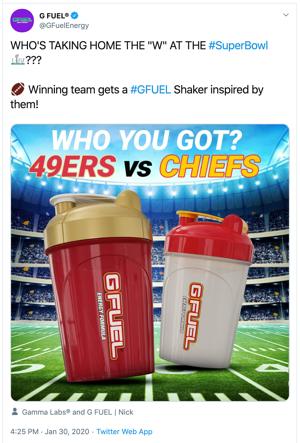 "Tweet Super Bowl G-Fuel ""srcset ="" https://blog.hubspot.com/hs-fs/hubfs/image-3754.png?width=150&name=image-3754.png 150w, https: //blog.hubspot .com / hs-fs / hubfs / image-3754.png? width = 300 & name = image-3754.png 300w, https://blog.hubspot.com/hs-fs/hubfs/image-3754.png?width= 450 & name = image-3754.png 450w, https://blog.hubspot.com/hs-fs/hubfs/image-3754.png?width=600&name=image-3754.png 600w, https: //blog.hubspot. com / hs-fs / hubfs / image-3754.png? width = 750 & name = image-3754.png 750w, https://blog.hubspot.com/hs-fs/hubfs/image-3754.png?width=900&name = image-3754.png 900w ""dimensioni ="" (larghezza massima: 300px) 100vw, 300px"