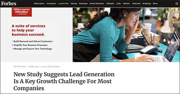 Un annuncio per Office Depot nel contenuto above the fold di Forbes con titolo: una suite di servizi per aiutare la tua azienda ad avere successo