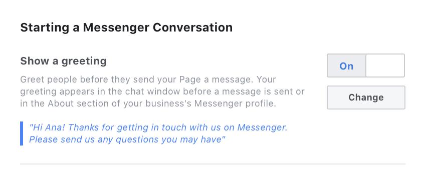Schermata di configurazione del messaggio di saluto di Facebook Messenger