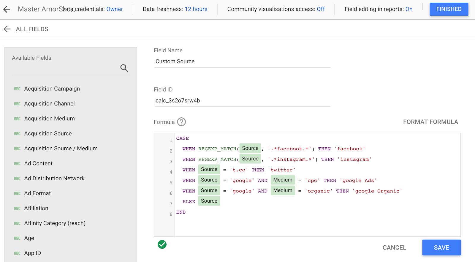 consolidamento delle informazioni di origine dai social media in google data studio.