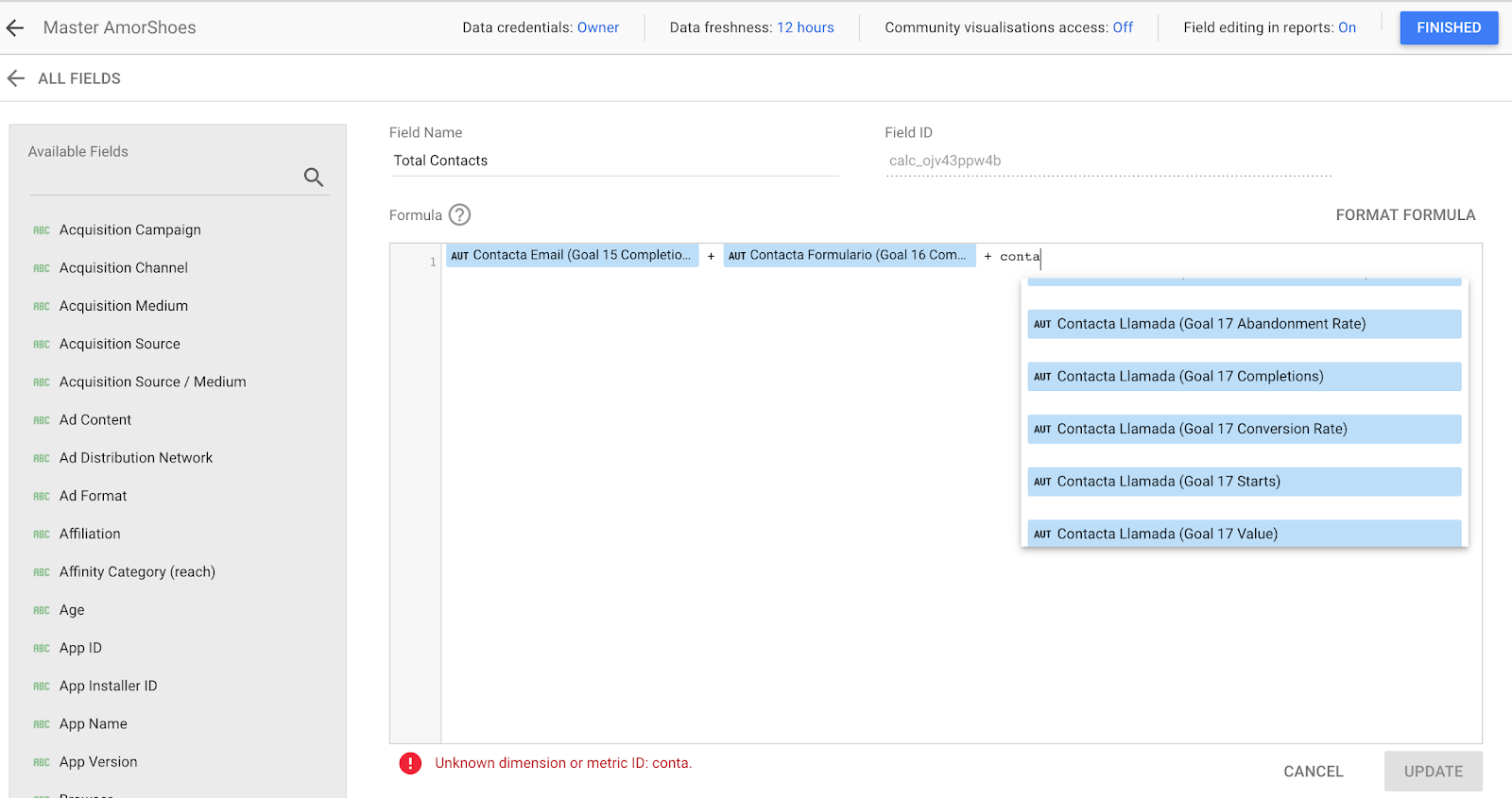 processo di combinazione degli obiettivi di generazione di lead in google data studio.