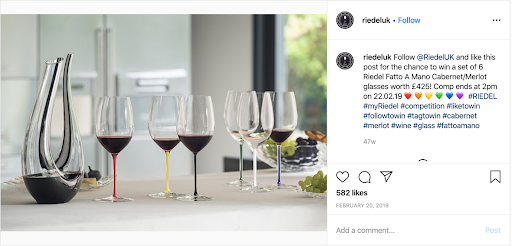 Esempio di concorso Instagram di Riedel UK