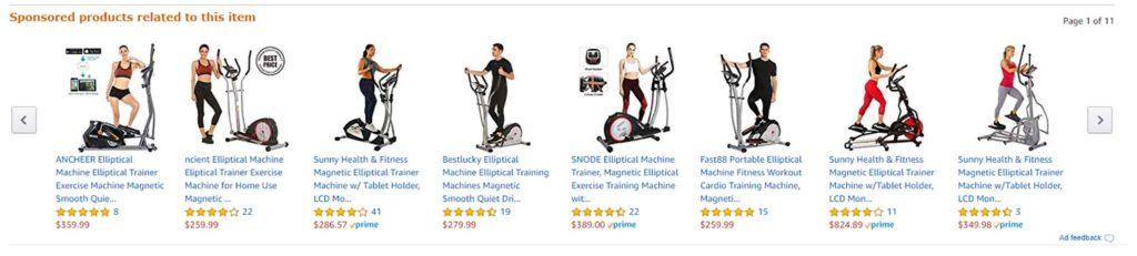 Esempio della sezione sponsorizzata in Amazon per ellittiche