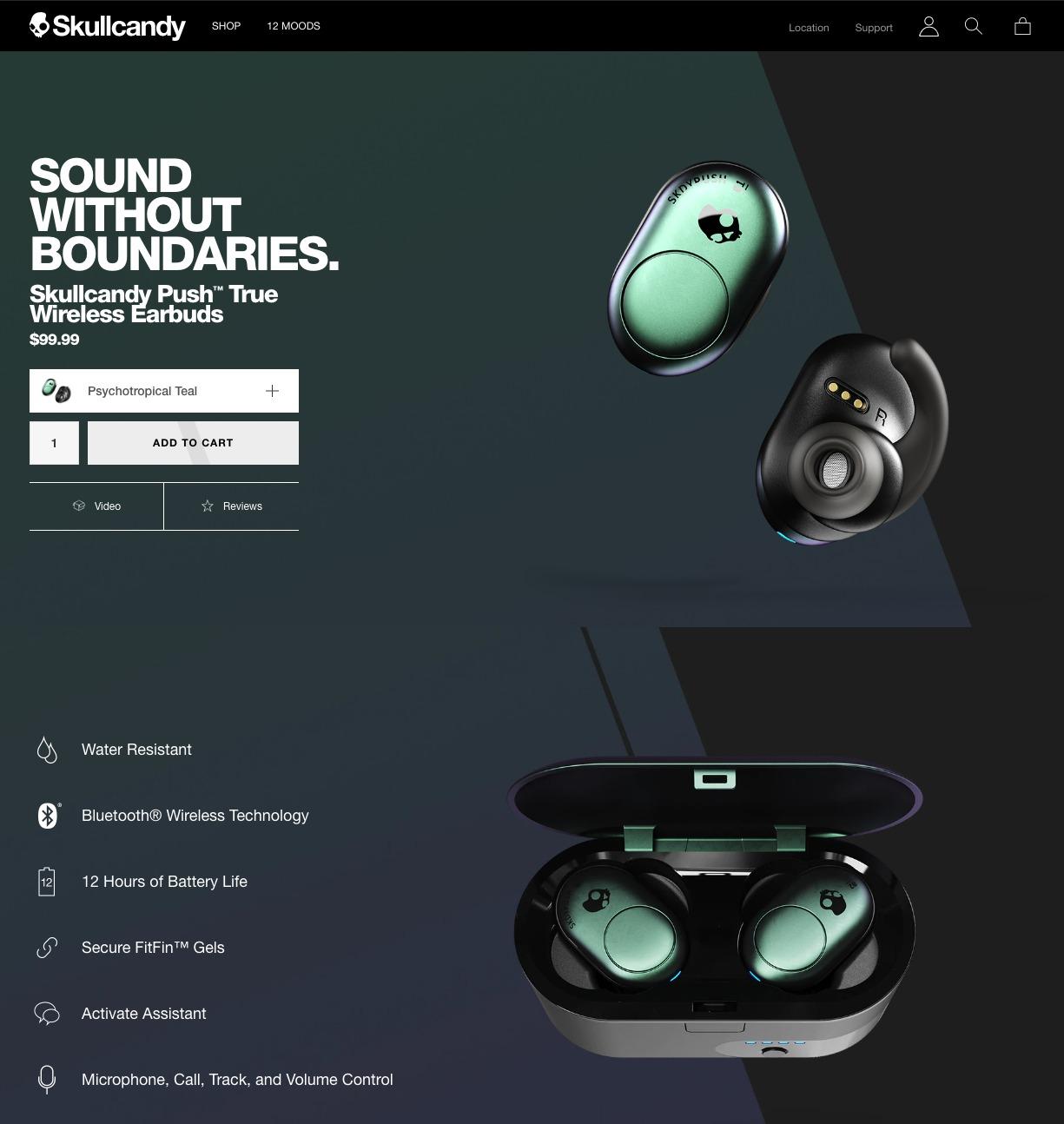 Pagina del prodotto Skullcandy