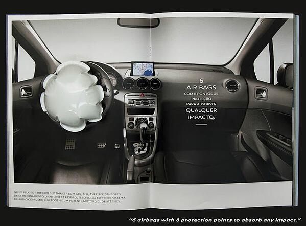 L'annuncio di Peugot gonfiarebbe un airbag se colpito.