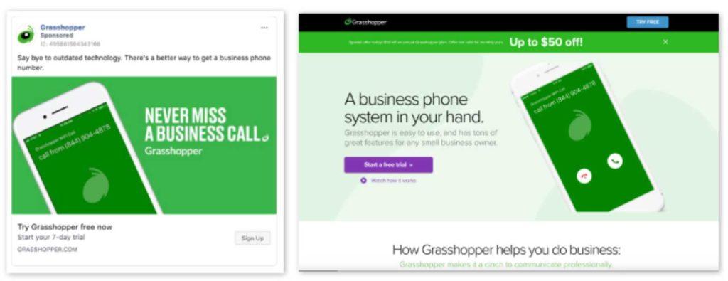 Annuncio Facebook e landing page di Grasshopper