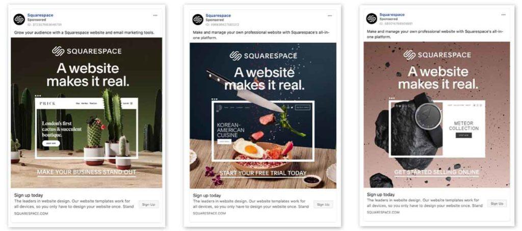Un esempio di 3 annunci di Squarespace con design e marchio coerenti