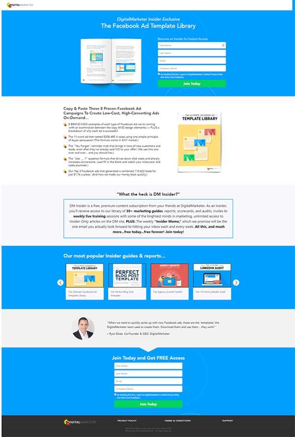 Pagina di destinazione di DigitalMarketer per il nostro modello di annuncio di Facebook