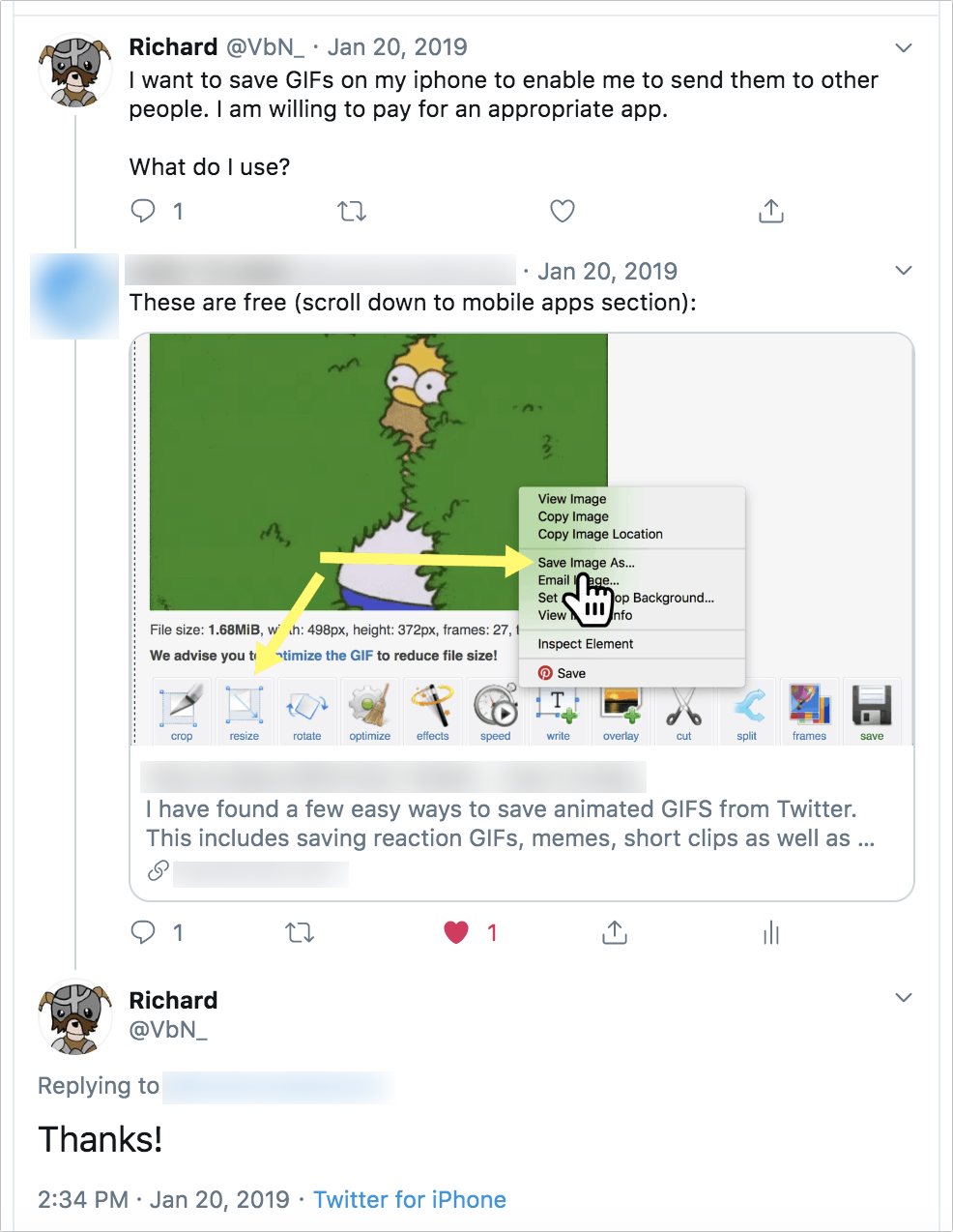 esempio di guadagno di un clic basato sulla risposta a una domanda dell'utente.