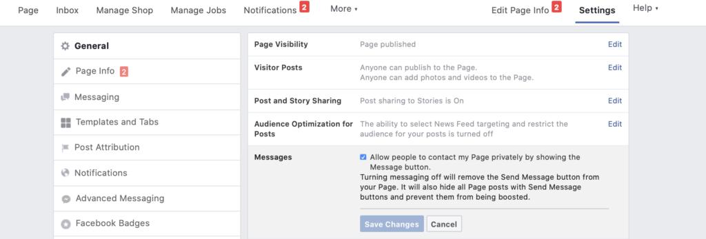 Schermata di creazione di annunci di Facebook Messenger
